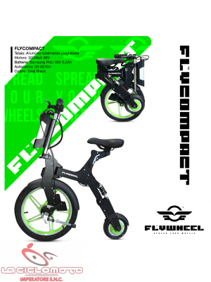 Mini scooter pieghevole car bike Flycompact con sella 300w - Verde