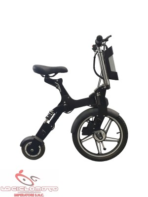 Mini scooter pieghevole car bike Flycompact con sella 300w - Nero