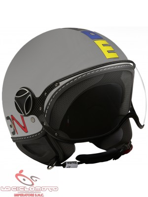 Casco jet Momo Design fighter classic grigio opaco - multicolor