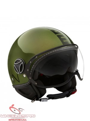 Casco jet Momo Design Fighter Evo verde metallizzato - nero