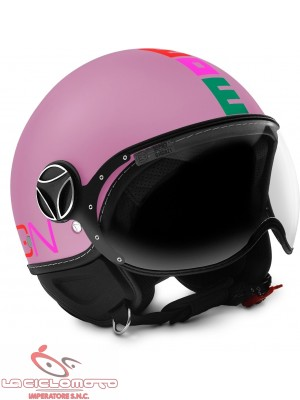 Casco jet bambino Momo Design Fighter Baby rosa opaco - multi