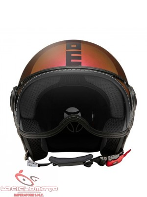 Casco jet Momo Design fighter classic Pop fuxia lucido/copper - nero