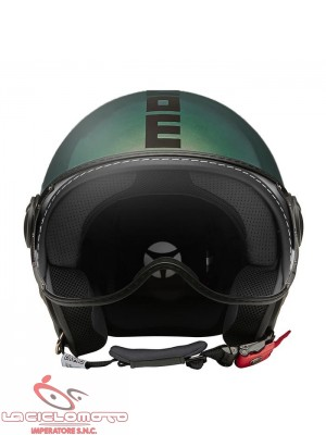 Casco jet Momo Design fighter classic Pop verde lucido/blu - nero