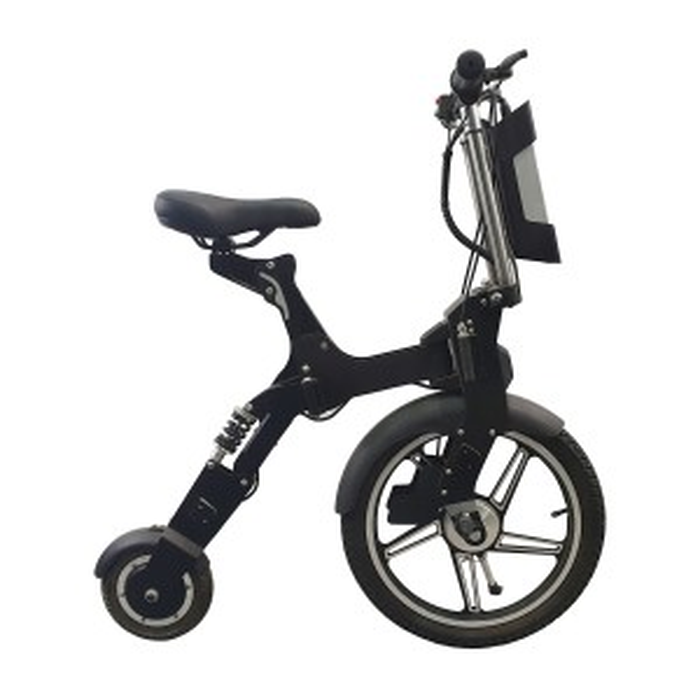 Mini scooter pieghevole car bike Flycompact con sella 300w - Nero